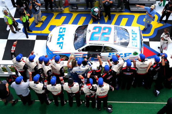 NASCAR XFINITY Series Pocono Green 250 Pocono Raceway, Long Pond, PA USA Saturday 10 June 2017 Brad Keselowski, SKF Ford Mustang celebrates in victory lane after winning World Copyright: Russell LaBounty LAT Images ref: Digital Image 17POC1rl_03980