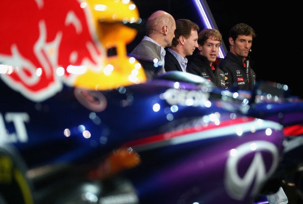 Milton Keynes, UK 3rd February 2013 .(L-R) Adrian Newey, Chief Technical Officer, Christian Horner, Team Principle, Mark Webber of Australia, and Sebastian Vettel of Germany talk to the guests Photo: Mark Thompson/Getty Images/Red Bull Racing () ref: Digital Image 160597652_10