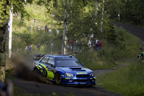 2004 FIA World Rally Champs. Round nine, Neste Rally Finland.5th - 8th August 2004.Petter Solberg, Subaru, action.World Copyright: McKlein/LAT