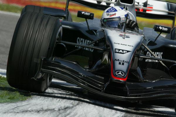 2004 San Marino Grand Prix - Friday Practice,Imola, Italy.23rd April 2004David Coulthard, McLaren Mercedes MP4-19, action.World Copyright LAT PhotographicDigital image only.