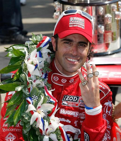 27 May, 2012, Indianapolis, Indiana, USADario Franchitti shows off his three Indy 500 Winner rings.(c)2012, Phillip AbbottLAT Photo USA
