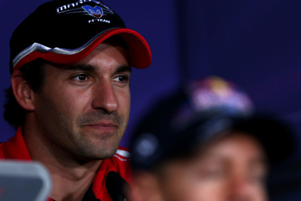 Marina Bay Circuit, Singapore.20th September 2012.Timo Glock, Marussia F1, in the Thursday Press Conference. World Copyright: Andy Hone/LAT Photographicref: Digital Image HONZ0841
