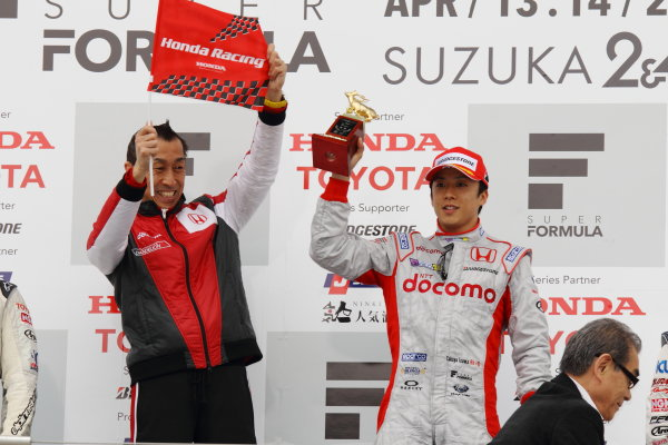 Suzuka, Japan. 14th April 2013. Rd 1. Winner Takuya Izawa ( #40 DOCOMO TEAM DANDELION RACING ) podium, portrait World Copyright: Yasushi Ishihara/LAT Photographic Ref: 2013_SF_Rd1_009