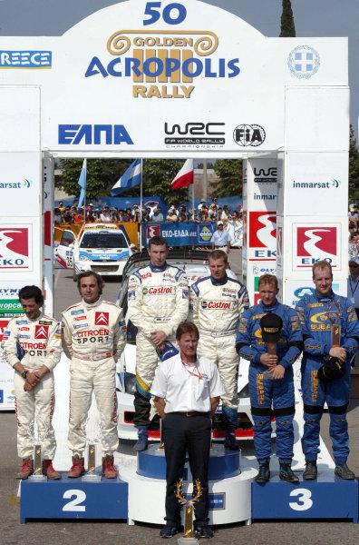 The top three crews on the podium, Acropolis Rally 2003.Photo: McKlein/LAT
