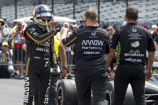 Marcus Ericsson, Arrow Schmidt Peterson Motorsports Honda, celebrates after winning a round of the pit stop competition