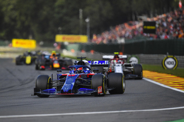 Daniil Kvyat, Toro Rosso STR14, leads Antonio Giovinazzi, Alfa Romeo Racing C38, and Alexander Albon, Red Bull RB15