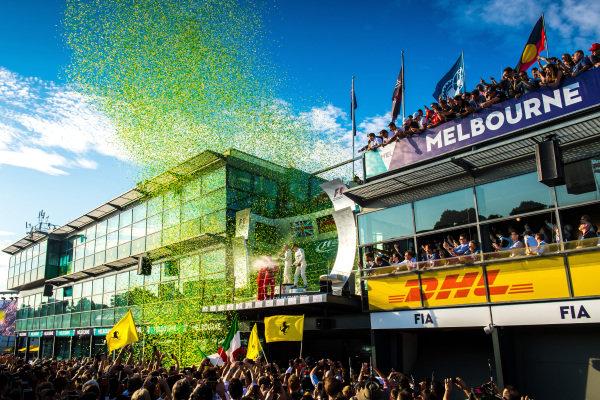 Poduim celebrations at Formula One World Championship, Rd1, Australian Grand Prix, Race, Albert Park, Melbourne, Australia, Sunday 26 March 2017. BEST IMAGE