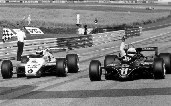 Elio de Angelis (ITA) Lotus 91 (right) punches the air in delight as he wins his first Grand Prix and the 150th for the Cosworth DFV engine. Keke Rosberg (FIN) Williams FW08 was second by only five hundredths of a second, one of the closest finishes in F1 history. Formula One World Championship, Austrian Grand Prix, Osterreichring, 15 August 1982. Catalogue Ref.: 10-199 Sutton Motorsport Images Catalogue