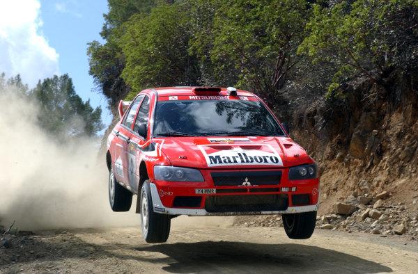 World Rally Championship, Cyprus Rally, April 18-21, 2002.Janne Paasonen flies on a jump on Stage 1, Leg 1.Photo: Ralph Hardwick/LAT