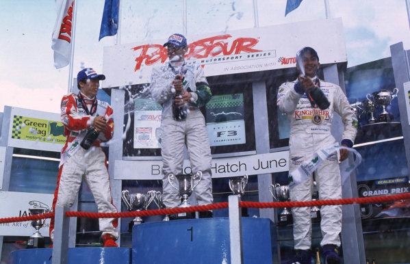 British Formula Three Rd6Brands Hatch, England, 3rd- 4th June 2000.Race podium - Antonio Pizzonia (1st), Takuma Sato (2nd) and Narain Karthikeyan (3rd).World - Spinney/LAT Photographic