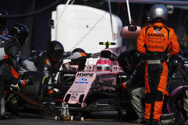 Esteban Ocon (FRA) Force India VJM10 pit stop at Formula One World Championship, Rd1, Australian Grand Prix, Race, Albert Park, Melbourne, Australia, Sunday 26 March 2017.
