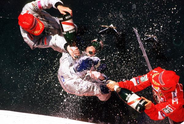 2001 Canadian Grand PrixMontreal, Canada. 8th-10th June 2001Race podium, Ralf Schumacher, BMW Williams FW23 (1st), Michael Schumacher, Ferrari F200 (2nd) and Mika Hakkinen, West McLaren Mercedes MP4/16 (3rd).World Copyright: LAT Photographicref: 35mm Image A23