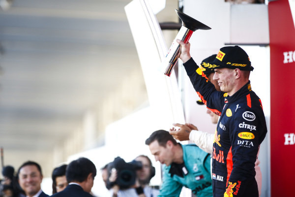 Max Verstappen, Red Bull Racing, 3rd position, with his trophy on the podium