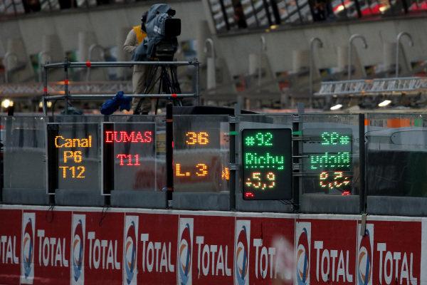 Digital pit boards. Le Mans 24 Hours, Le Mans, France, 20-23 June 2013.