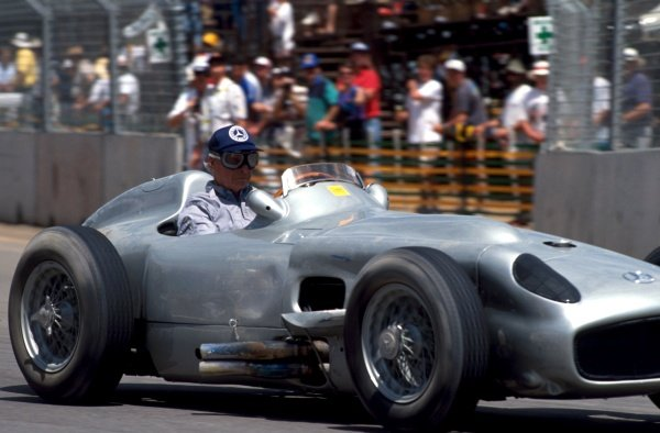 Juan Manuel Fangio (ARG) demonstrates a Mercedes W196, and suffers some damage after a spin.  Formula One World Championship, Adelaide, Australia, 4 December 1990
