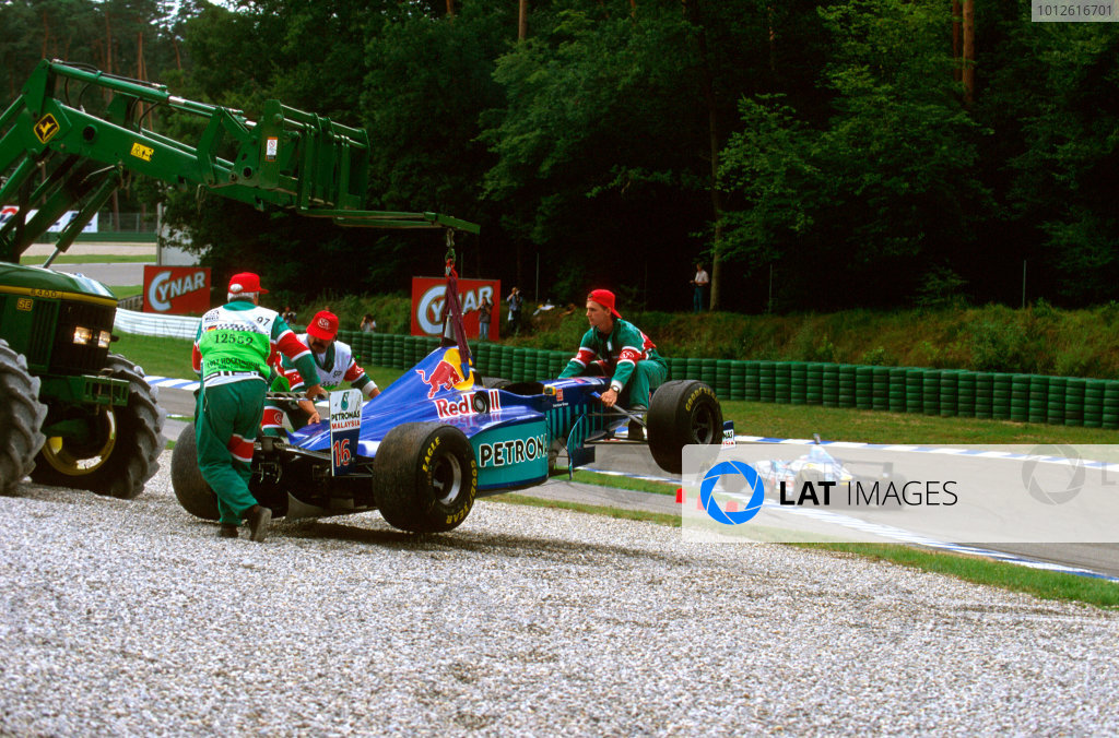 Hockenheim, Germany.25-27 July 1997.Johnny Herbert's car is hoisted out of the gravel after a collision with Pedro Diniz on lap 8.Ref-97 GER 09.World Copyright - LAT Photographic