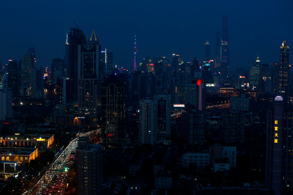 Shanghai International Circuit, Shanghai, China. Wednesday 8 April 2015. View over Shanghai at night. World Copyright: Glenn Dunbar/LAT Photographic. ref: Digital Image _W2Q0307