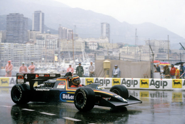 Monte Carlo, Monaco.31/5-3/6 1984.Stefan Bellof, Tyrrell 012-Ford, 3rd position, at Casino. He would lose his position at the end of the season, after the Tyrrell team was disqualified from the World Championship due to fuel irregularities.Ref-84 MON 56.World Copyright - LAT Photographic