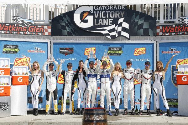 #3 Corvette Racing Chevrolet Corvette C7.R, GTLM: Antonio Garcia, Jan Magnussen, #66 Chip Ganassi Racing Ford GT, GTLM: Dirk Müller, Joey Hand, #911 Porsche Team North America Porsche 911 RSR, GTLM: Patrick Pilet, Nick Tandy, podium