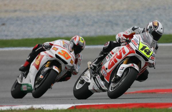 Randy de Puniet LCR Honda leads Marco Melandri