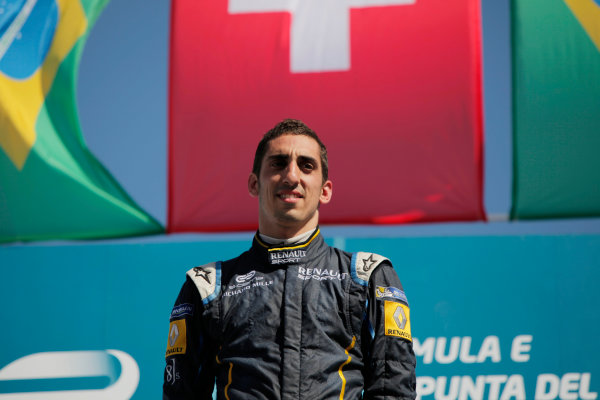 2014 FIA Formula E Championship. Punta del Este ePrix, Uruguay. Podium. Sebastien Buemi (SWI)/E.dams Renault - Spark-Renault SRT_01E (first position). Photo: Zak Mauger/LAT/FE ref: Digital Image _MG_0109