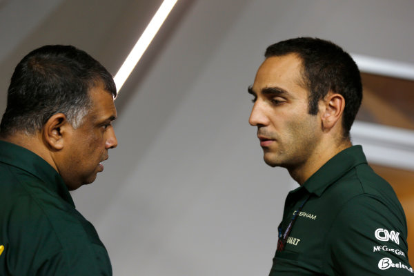 Marina Bay Circuit, Singapore. Friday 20th September 2013. Tony Fernandes, Co-Chairman, Caterham Group with Cyril Abiteboul, Team Principal, Caterham F1. World Copyright: Charles Coates/LAT Photographic. ref: Digital Image _N7T2910