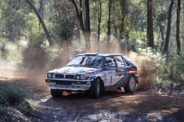 1991 World Rally Championship.Australian Rally, Australia. 20-24 September 1991.Juha Kankkunen/Juha Piironen (Lancia Delta Integrale 16V), 1st position.World Copyright: LAT PhotographicRef: 35mm transparency 91RALLY09