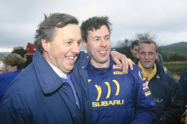 1994 World Rally Championship. Lombard RAC Rally, Great Britain. 20-23 November 1994. Colin McRae (Subaru Impreza 555), 1st position. Celebrating with his father Jimmy. Portrait. World Copyright: LAT Photographic Ref: 35mm transparency 94RALLY17