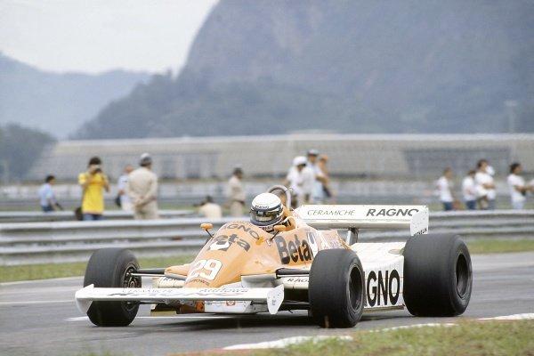 1981 Brazilian Grand Prix.Jacarepagua, Rio de Janeiro, Brazil. 27-29 March 1981.Riccardo Patrese (Arrows A3-Ford Cosworth), 3rd position.World Copyright: LAT PhotographicRef: 35mm transparency 81BRA06