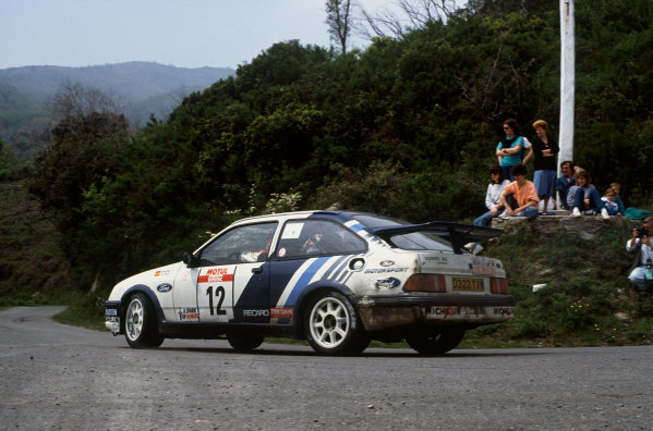 Tour de Corse, Corsica, France. 3 - 6 May 1988. Rd 5.Carlos Sainz/Lu's Moya (Ford Sierra RS Cosworth), 5th position, action. World Copyright: LAT PhotographicRef: 88RALLY17