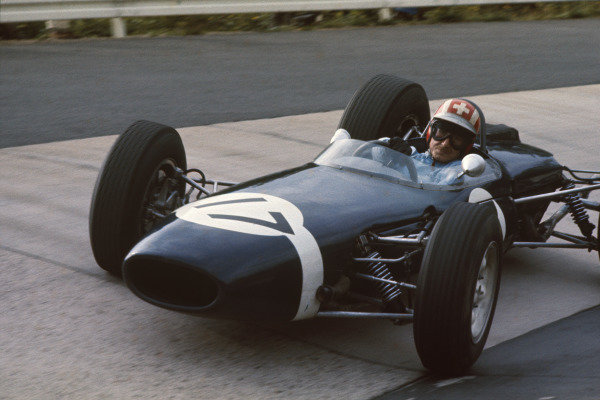 Nurburgring, Germany. 30/7 - 1/8 1965. RD7 Jo Siffert, Brabham BT11-BRM, retired, action. World Copyright: LAT Photographic. Ref: 65GER02.