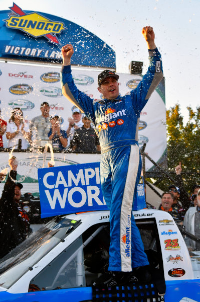 NASCAR Camping World Truck Series Bar Harbor 200 Dover International Speedway, Dover, DE USA Friday 2 June 2017 Johnny Sauter, Allegiant Airlines Chevrolet Silverado celebrates his win in Victory Lane World Copyright: Nigel Kinrade LAT Images ref: Digital Image 17DOV1nk06943