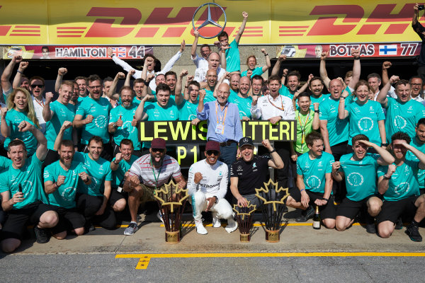 Circuit Gilles Villeneuve, Montreal, Canada. Sunday 11 June 2017. Lewis Hamilton, Mercedes AMG, 1st Position, Valtteri Bottas, Mercedes AMG, 2nd Position, and the Mercedes team celebrate victory. World Copyright: Steve Etherington/LAT Images ref: Digital Imagee SNE18658