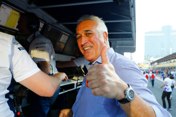 Baku City Circuit, Baku, Azerbaijan. Sunday 25 June 2017. Lawrence Stroll gives a thumbs up after his son's third place finish. World Copyright: Steven Tee/LAT Images ref: Digital Image _O3I3992