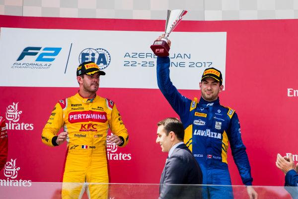 2017 FIA Formula 2 Round 4. Baku City Circuit, Baku, Azerbaijan. Sunday 25 June 2017. Norman Nato (FRA, Pertamina Arden), Nicholas Latifi (CAN, DAMS)  Photo: Zak Mauger/FIA Formula 2. ref: Digital Image _56I8629