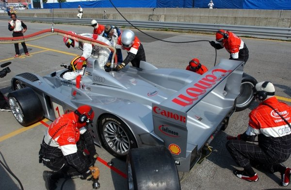 Frank Biela (GER) Joest Audi R8 makes a pit stop on the way to the win.American Le Mans Series, Trois-Rivieres, Quebec, Canada. 3 August 2003.DIGITAL IMAGE.