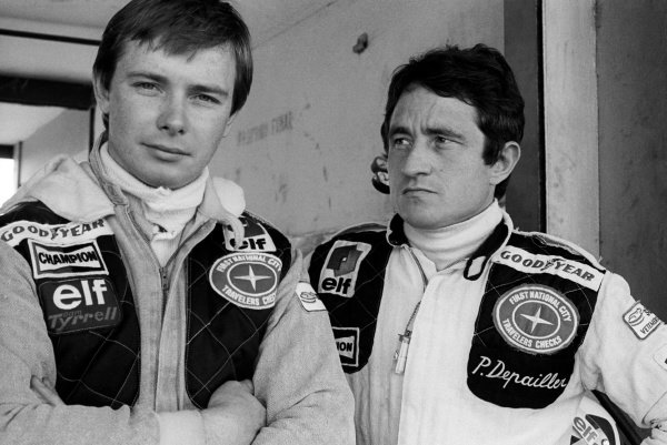 (L to R): Didier Pironi (FRA) Tyrrell, who finished fourteenth on his GP debut, with his team mate Patrick Depailler (FRA), who finished the race in third position.Argentinean Grand Prix, Rd 1, Buenos Aires, Argentina, 15 January 1978.