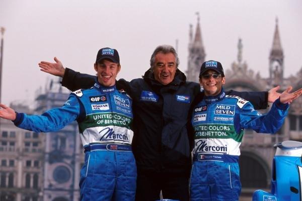 Team manager Flavio Briatore (Centre) with his drivers for the upcoming season, Jenson Button (GBR) (left) and Giancarlo Fisichella (ITA) (Right).Benetton Car Launch, Venice, Italy, 6 February 2001.
