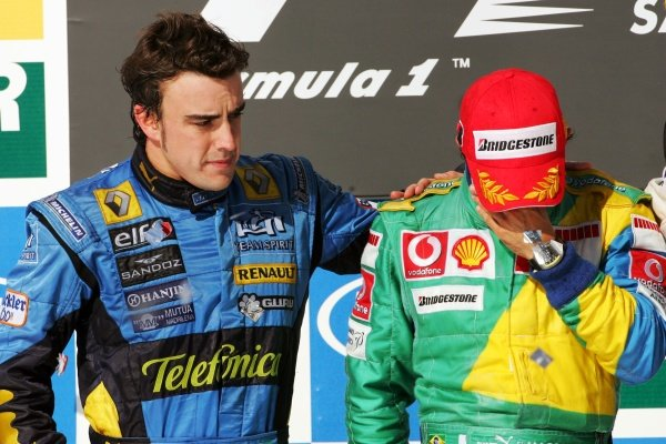 The podium (L to R): second placed Fernando Alonso (ESP) Renault and race winner Felipe Massa (BRA) Ferrari. Formula One World Championship, Rd 18, Brazilian Grand Prix, Race, Interlagos, Brazil, 22 October 2006. DIGITAL IMAGE