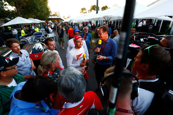Albert Park, Melbourne, Australia. Sunday 26 March 2017. Race winner Sebastian Vettel, Ferrari, 1st Position, gives an interview. World Copyright: Sam Bloxham/LAT Images ref: Digital Image _J6I5240