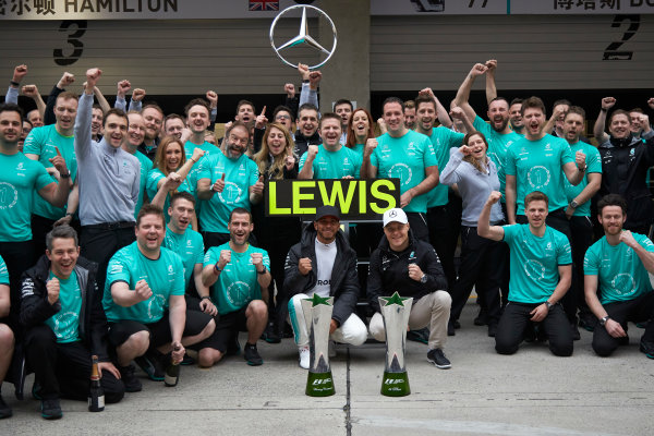 Shanghai International Circuit, Shanghai, China.  Sunday 9 April 2017. Lewis Hamilton, Mercedes AMG, 1st Position, and Valtteri Bottas, Mercedes AMG, celebrate with the Mercedes AMG team. World Copyright: Steve Etherington/LAT Images ref: Digital Image SNE28611