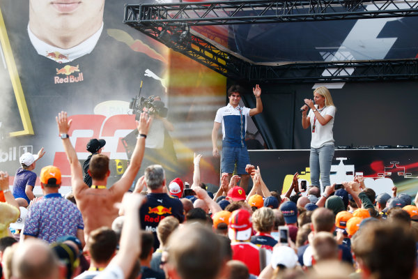 Spa Francorchamps, Belgium.  Saturday 26 August 2017. Lance Stroll, Williams Martini Racing, on stage in the F1 Fanzone. World Copyright: Sam Bloxham/LAT Images  ref: Digital Image _J6I9159