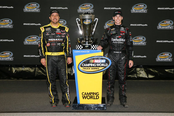 NASCAR Camping World Truck Series TheHouse.com 225 Chicagoland Speedway, Joliet, IL USA Friday 15 September 2017 Matt Crafton, Black Label Bacon/Menards Toyota Tundra and Ben Rhodes, Safelite Auto Glass Toyota Tundra World Copyright: Barry Cantrell LAT Images