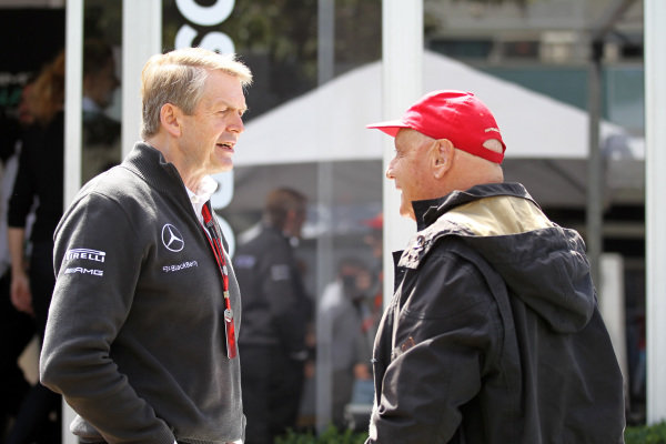 (L to R): Dr. Thomas Weber (GER) Daimler AG and Niki Lauda (AUT) Mercedes AMG F1 Non-Executive Chairman at Formula One World Championship, Rd1, Australian Grand Prix, Race, Albert Park, Melbourne, Australia, Sunday 15 March 2015.