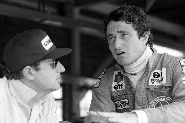 L-R: Derek Gardner (GBR), Tyrrell chief designer, and Patrick Depailler (FRA) Tyrrell.South African Grand Prix, Rd3, Kyalami, South Africa, 5 March 1977.