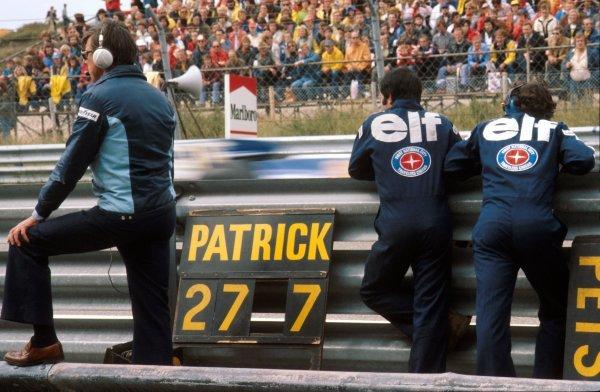 Ken Tyrrell (GBR) Tyrrell Team Owner watches the progress of his driver Patrick Depailler (FRA). Dutch Grand Prix, Rd 13, Zandvoort, Holland, 28 August 1977.