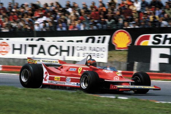 Brands Hatch, Great Britain. 11-13 July 1980.Gilles Villeneuve (Ferrari 312T5), retired, action. World Copyright: LAT PhotographicRef: 80GB26