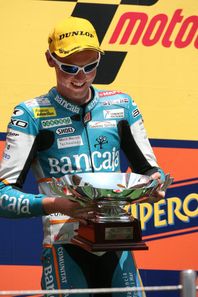 Spain Catalunya 02-04 July 2010Bradley Smith Bancaja Aspar Team with his 125cc runners up trophy