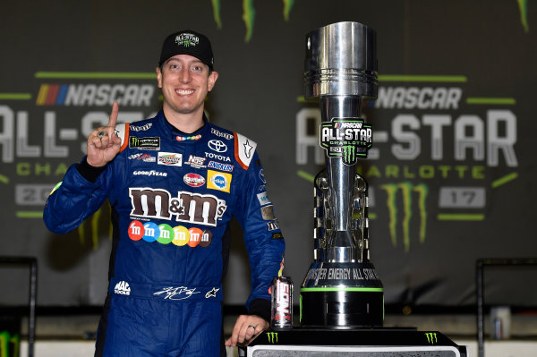 Monster Energy NASCAR Cup Series Monster Energy NASCAR All-Star Race Charlotte Motor Speedway, Concord, NC USA Saturday 20 May 2017 Kyle Busch, Joe Gibbs Racing, M&M's Caramel Toyota Camry celebrates his win in Victory Lane World Copyright: Nigel Kinrade LAT Images ref: Digital Image 17CLT1nk07364