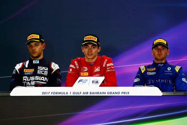 2017 FIA Formula 2 Round 1. Bahrain International Circuit, Sakhir, Bahrain.  Sunday 16 April 2017. Charles Leclerc (MCO, PREMA Racing) Luca Ghiotto (ITA, RUSSIAN TIME) and Oliver Rowland (GBR, DAMS)  Photo: Zak Mauger/FIA Formula 2. ref: Digital Image _X0W5173